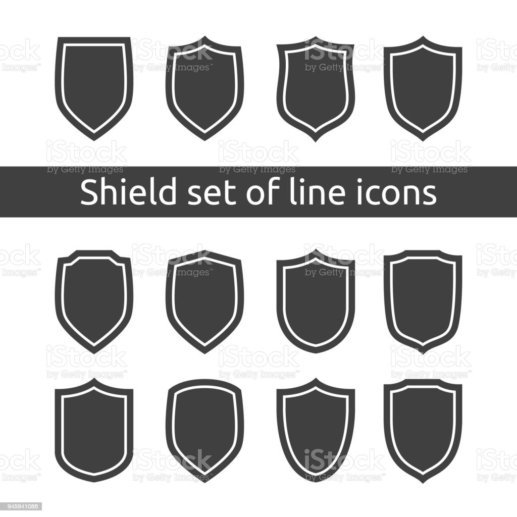 Shield Logo Symbol Icon Set With Outline Line Style Vector ...