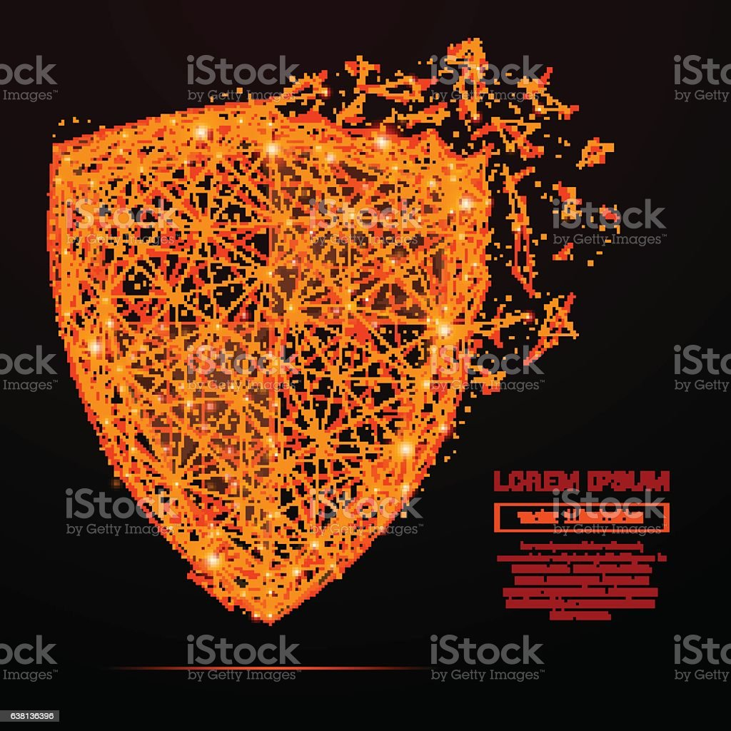 shield low poly flame vector art illustration