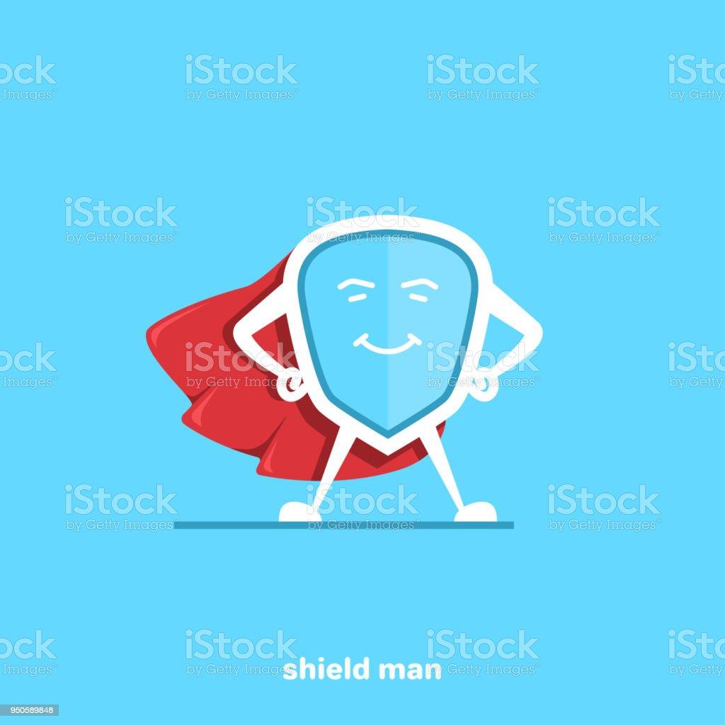 shield man vector art illustration