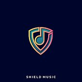 Shield Music Illustration Vector Template. Suitable for Creative Industry, Multimedia, entertainment, Educations, Shop, and any related business.