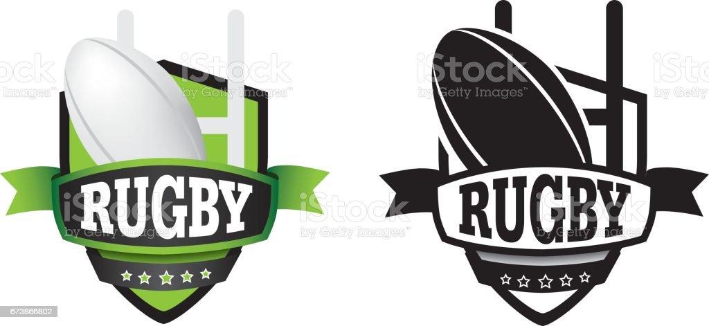 icono de escudo rugby - ilustración de arte vectorial