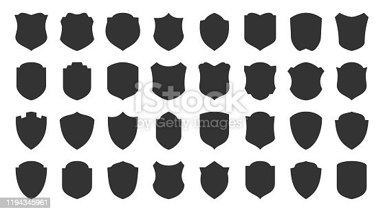 Shields glyph icons set. Security symbol. Coat arms silhouette icon. Safety, defense, protection signs for emblem, logo, badge. Privacy protect black sign design. Isolated vector illustration