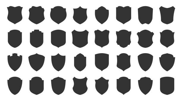 Shield safety defense protect vector glyph icons Shields glyph icons set. Security symbol. Coat arms silhouette icon. Safety, defense, protection signs for emblem, logo, badge. Privacy protect black sign design. Isolated vector illustration shield stock illustrations