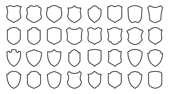 Shields line icons set. Security symbol. Coat arms linear icon. Safety, defense, protection outline signs for emblem, logo, badge. Privacy protect contour sign design. Isolated vector illustration