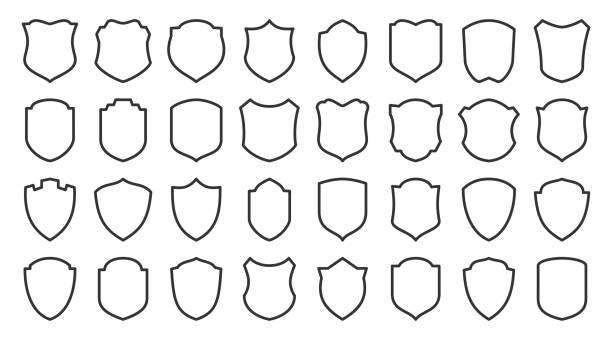 tarcza ochrony bezpieczeństwa chroni zestaw ikon linii wektorowych - przypinka stock illustrations