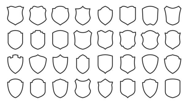 Shield safety defense protect vector line icon set Shields line icons set. Security symbol. Coat arms linear icon. Safety, defense, protection outline signs for emblem, logo, badge. Privacy protect contour sign design. Isolated vector illustration shield stock illustrations