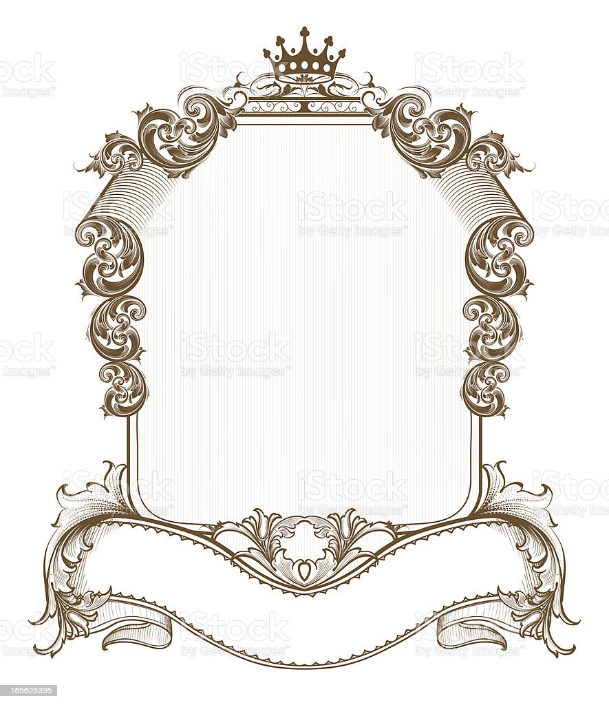 Antique Scroll Art: Shield Scroll Banner Stock Vector Art & More Images Of