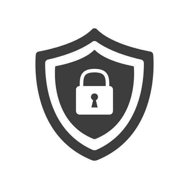 Shield security with lock symbol. Shield security with lock symbol. Vector illustration locking stock illustrations