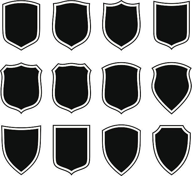 shield set - coat of arms stock illustrations, clip art, cartoons, & icons
