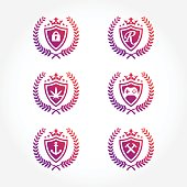 Shield Symbol with laurel wreath Design Collections set