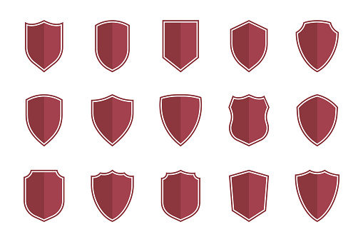 shield symbols in flat style for web design, shield icon set