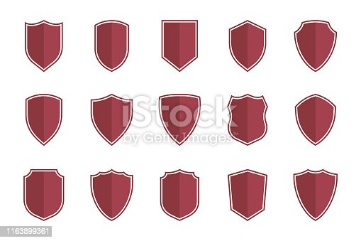 set of vector shields in flat style, shield icons vector illustration