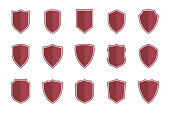 shield symbols in flat style for web design, shield icon set