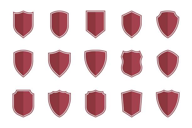 symbole tarczy w płaskim stylu do projektowania stron internetowych, zestaw ikon tarczy - przypinka stock illustrations