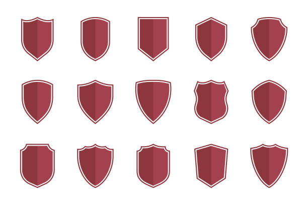 shield symbols in flat style for web design, shield icon set set of vector shields in flat style, shield icons vector illustration shield stock illustrations