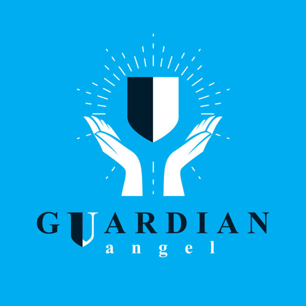 shield vector graphic illustration, safety and security metaphor symbol. guardian angel vector abstract emblem. - religious symbols stock illustrations, clip art, cartoons, & icons