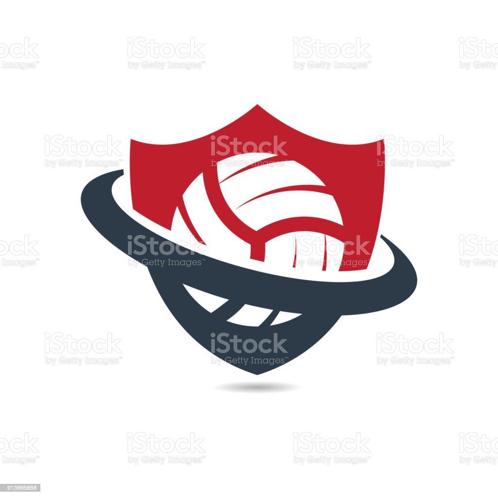 Shield Volleyball vector art illustration