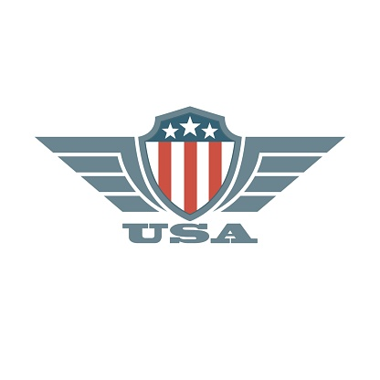 Shield with american flag wings and text