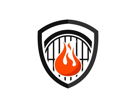 Shield with barbeque grill and fire