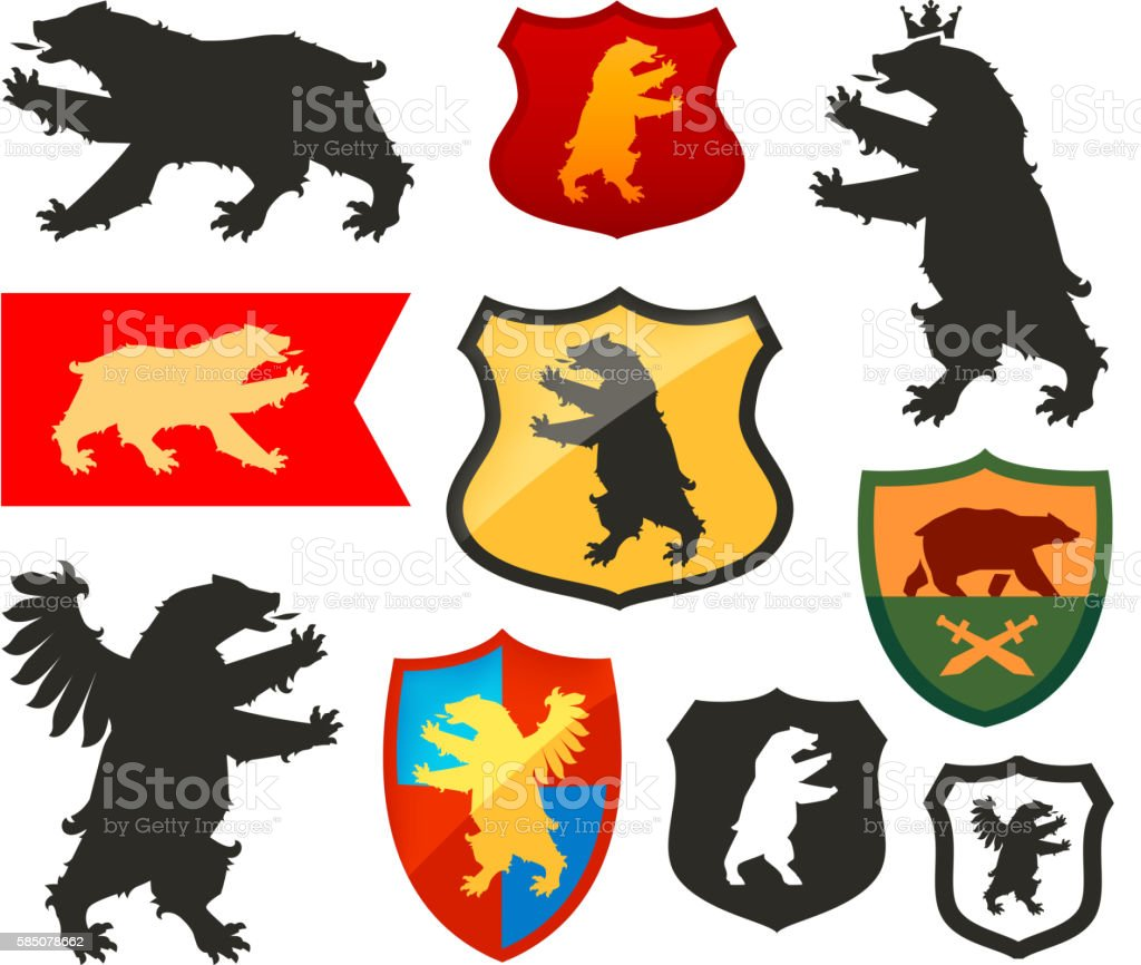 Shield with bear vector logo. Coat of arms, heraldry set vector art illustration