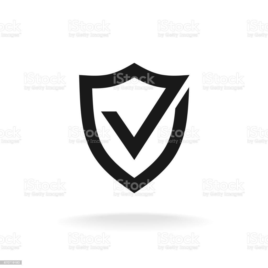 Bouclier avec l'icône de coche noir. Protection approuver signe. - Illustration vectorielle