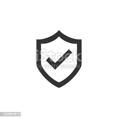 Shield with check mark icon in flat style. Protect vector illustration on white isolated background. Checkmark guard business concept.