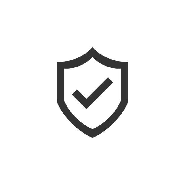 ilustraciones, imágenes clip art, dibujos animados e iconos de stock de escudo con icono de marca de verificación en estilo plano. proteja la ilustración vectorial sobre fondo aislado blanco. concepto de negocio de protección de marca de verificación. - seguridad