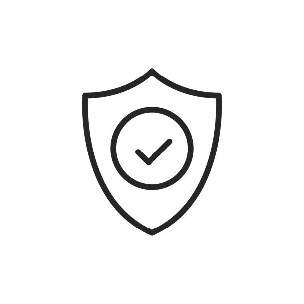 Shield with check mark line icon. Security, reliability, protection, safety concepts. Simple thin line design. Vector icon vector art illustration
