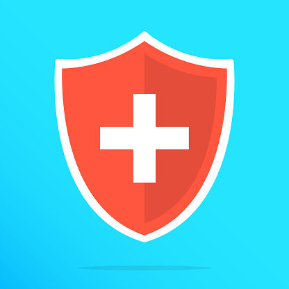 Shield with cross icon. Red shield with white cross. Vector flat icon