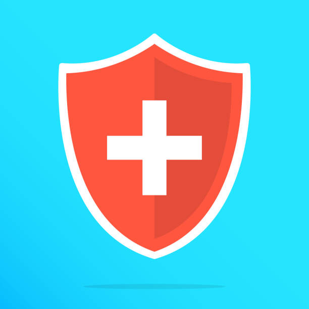 Shield with cross icon. Red shield with white cross. Vector flat icon Shield with cross icon. Red shield with white cross. Vector flat icon shield stock illustrations