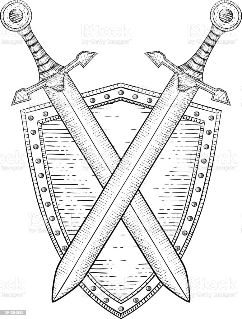 Shield with crossed swords. Hand drawn sketch vector art illustration