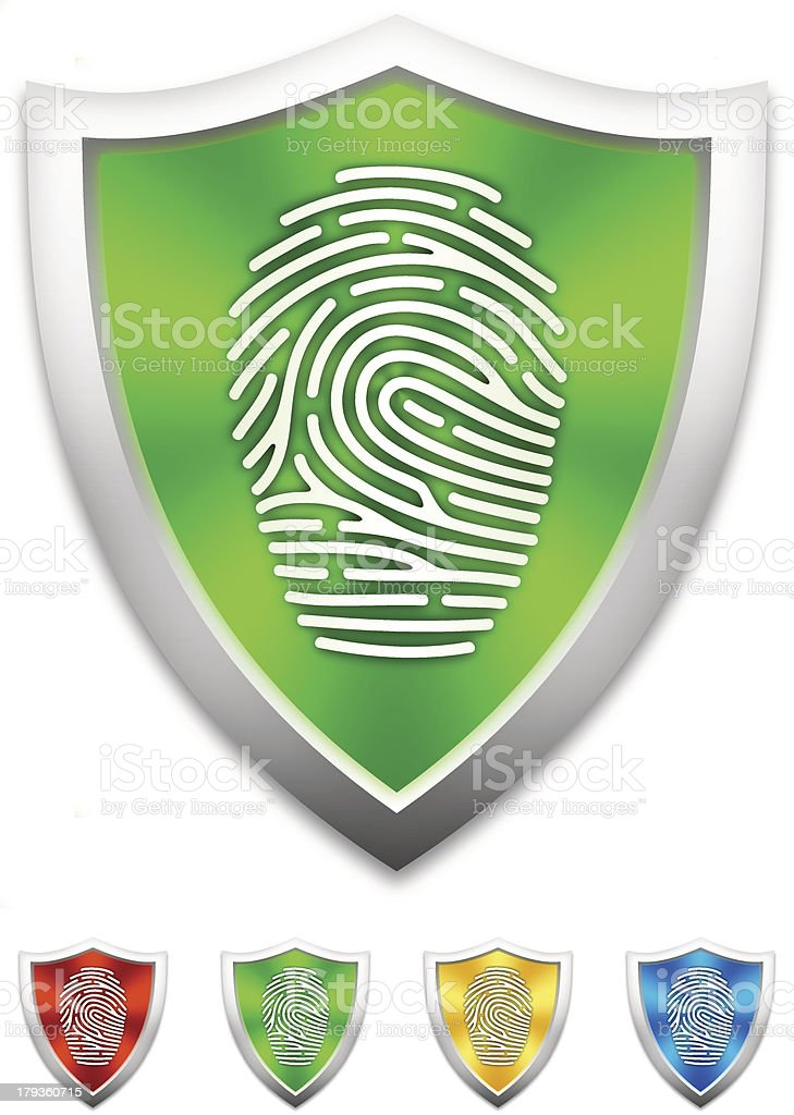 Shield with fingerprint icons royalty-free stock vector art
