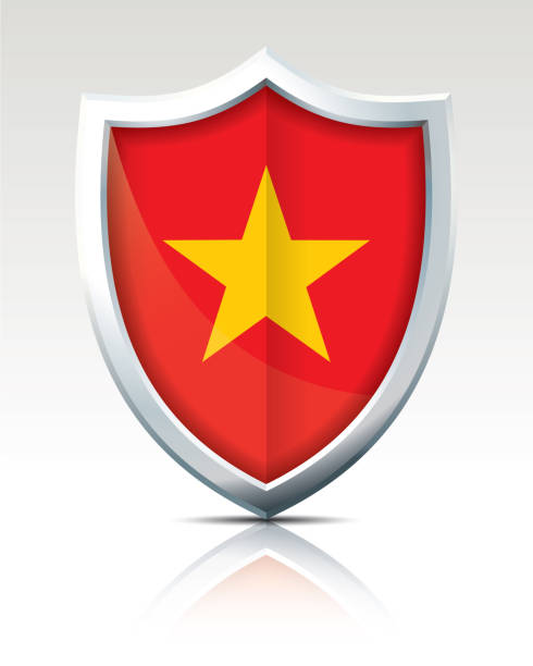 Shield with Flag of Vietnam Shield with Flag of Vietnam - vector illustration viet cong stock illustrations