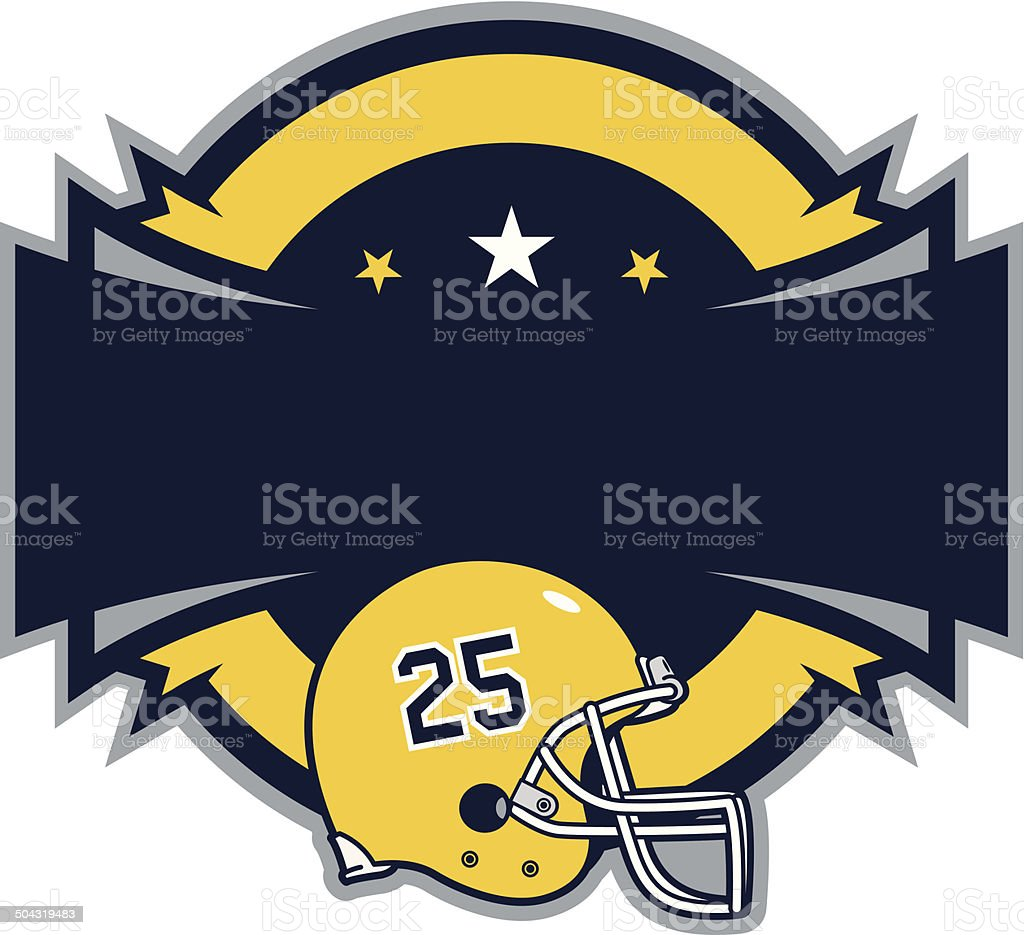 Shield with Football Helmet vector art illustration