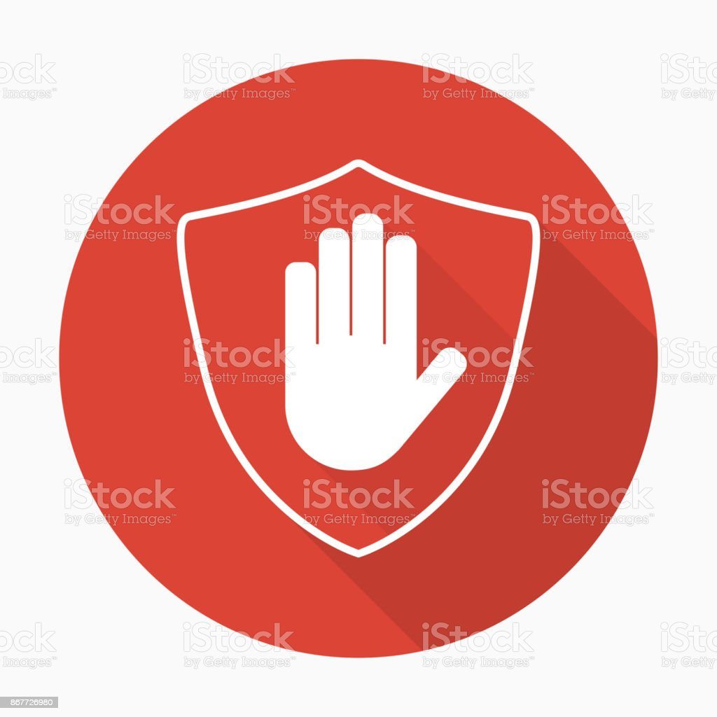 Shield with hand block icon in flat style with shadow vector art illustration