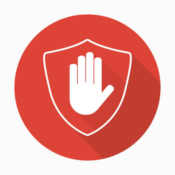 Shield with hand block icon in flat style with shadow Shield with hand block icon in flat style with shadow. Stop hand red prohibition. Vector illustration defend stock illustrations