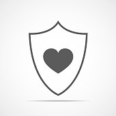 Shield with heart. Vector illustration.