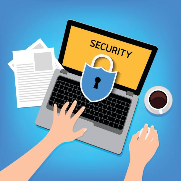 shield with laptop. - identity theft stock illustrations, clip art, cartoons, & icons