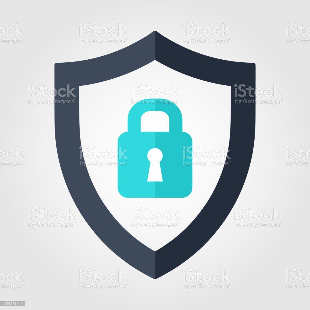 Ilustración de Escudo Con Icono De Seguridad De Bloqueo Vector De ...