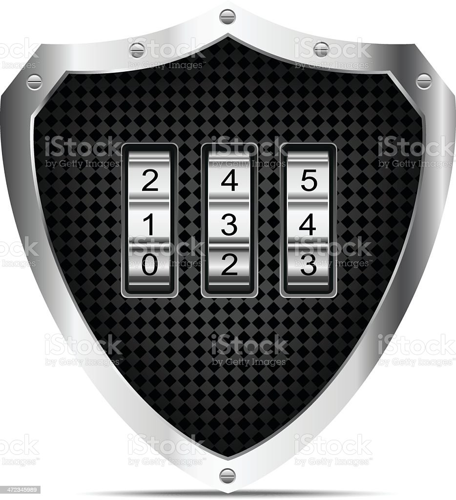 Shield with number lock royalty-free stock vector art
