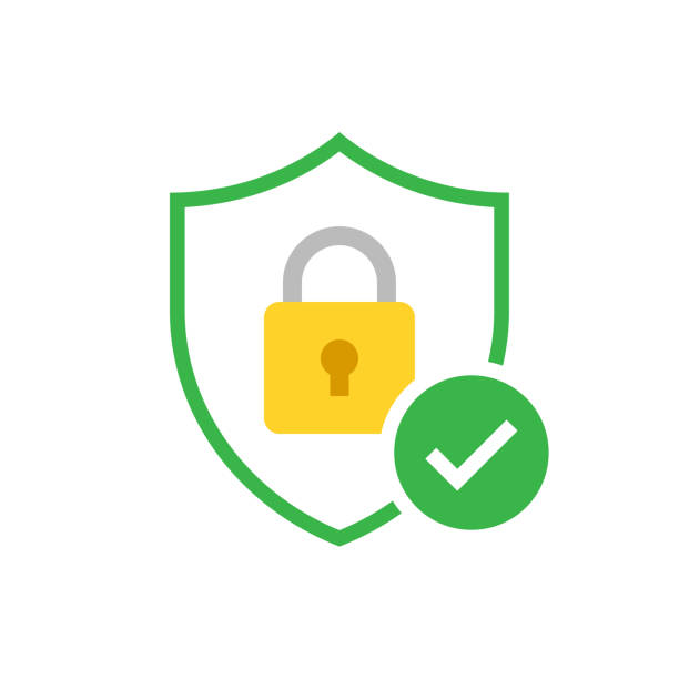 Shield with padlock and check mark Shield with padlock and check mark. Modern flat vector icon safety deposit box stock illustrations