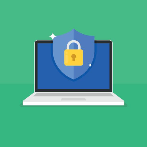 Shield with padlock icon on computer screen. Web security modern flat vector illustration. Shield with padlock icon on computer screen. Web security modern flat vector illustration. security stock illustrations