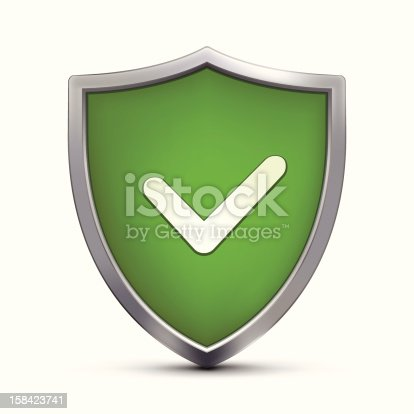 Shield with Positive Symbol on white background.