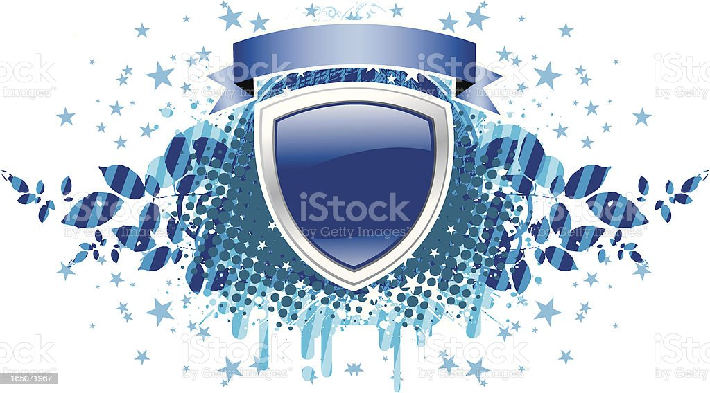 Shield with ribbon blue royalty-free stock vector art