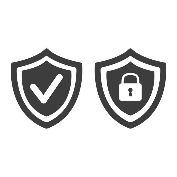 Shield with security and check mark icon on white background. Shield with security and check mark icon on white background. Vector illustration defend stock illustrations