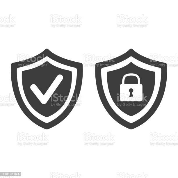 Shield With Security And Check Mark Icon On White Background - Arte vetorial de stock e mais imagens de Agenda Pessoal
