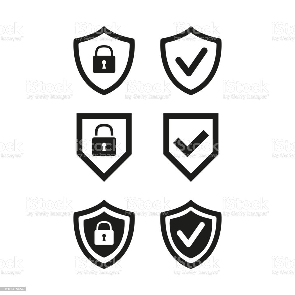 Shield with security and check mark icon on white background. - Royalty-free Agenda Pessoal arte vetorial