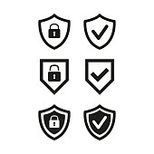 istock Shield with security and check mark icon on white background. 1201915464