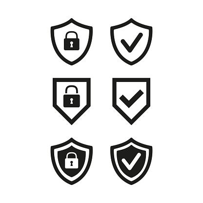 Shield with security and check mark icon on white background. Vector illustration