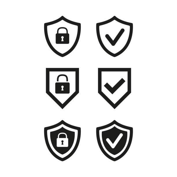 illustrazioni stock, clip art, cartoni animati e icone di tendenza di scudo con sicurezza e icona del segno di spunta su sfondo bianco. - protezione